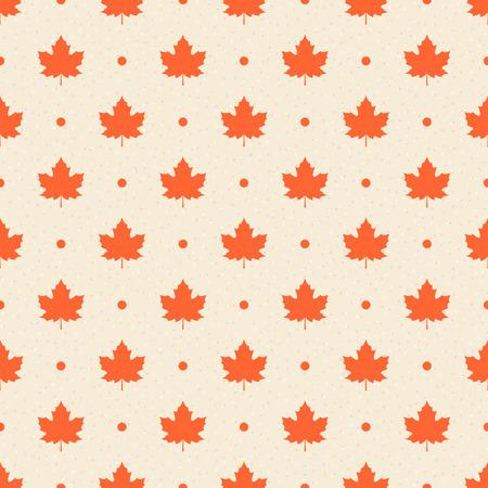 レトロなシームレスなパターン。オレンジ カエデの葉、ベージュ テクスチャ背景のドットします。  イラスト・ベクター素材