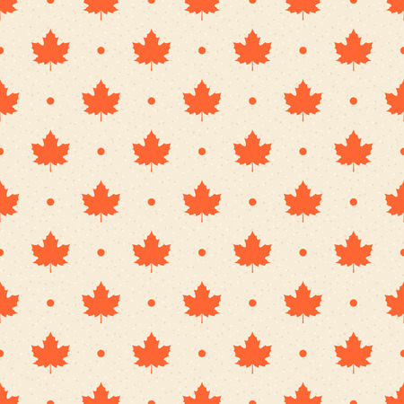 Retro seamless pattern. Orange maple leaves and dots on beige textured background.