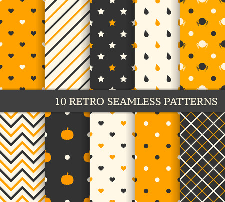 10 retro different seamless patterns. Black and orange. Vector