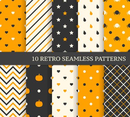 10 retro verschillende naadloze patronen. Zwart en oranje. Stock Illustratie