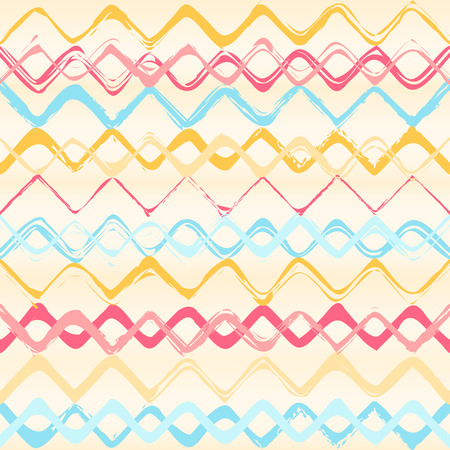 Colorful stripes seamless zigzag pattern. Abstract background with hand drawn stripes. Vector watercolor lines background. Vector