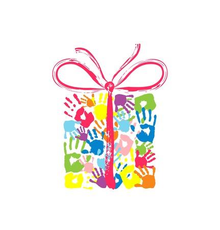 Geschenk doos met strik van de handafdrukken van vader, moeder en kinderen Stock Illustratie