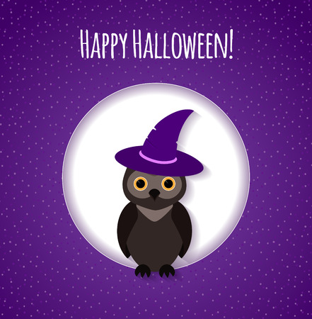 Halloween card or background with owl Vector