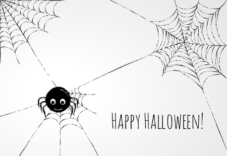 Cute spider and webs over gray background. Halloween card or background Vector