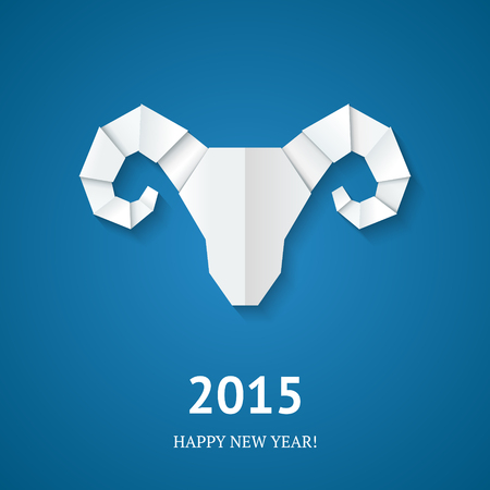 Origami goat on blue background. Symbol of New Year of the Goat 2015. Vector