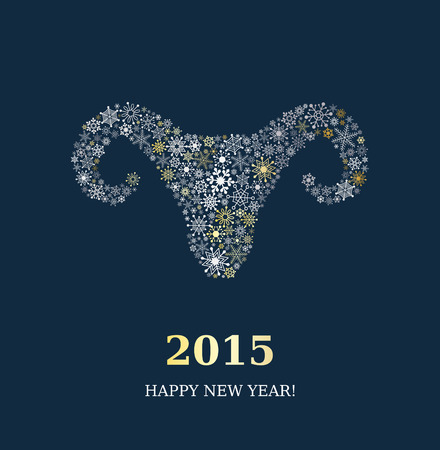 Goat made of snowflakes on dark blue background. Symbol of New Year of the Goat 2015.