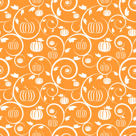 Orange seamless pattern with pumpkin, leaves and swirls Vector