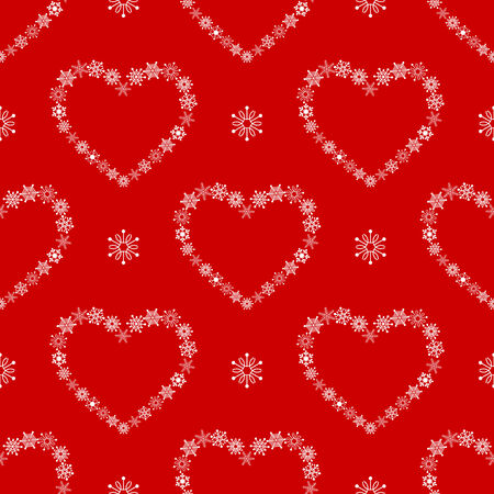 Red seamless pattern with hearts made of snowflakes. Vector