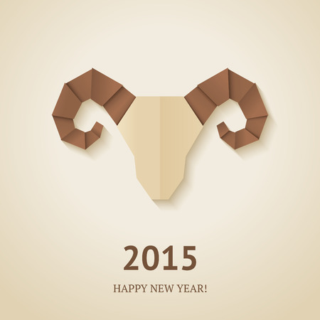Origami goat on beige background. Vector