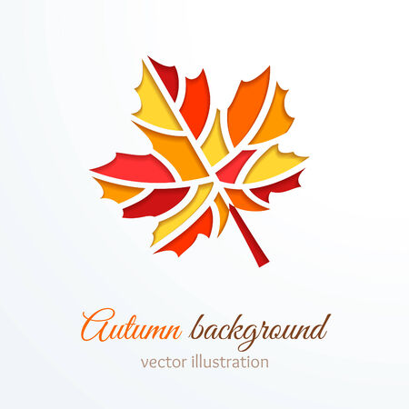 concept background: Colorful cutout autumn leaf. Vector illustration