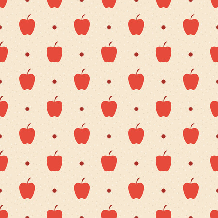 Retro seamless pattern. Red apples and dots on beige textured background. Vector