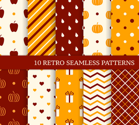 10 retro different seamless patterns. Autumn theme. Endless texture for wallpaper, web page background, wrapping paper and etc. Retro style. Vector