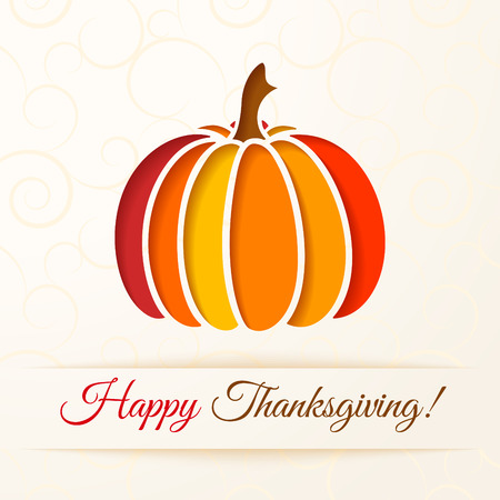 Beige background with cut out colorful pumpkin. Thanksgiving card. Vector illustration Vector