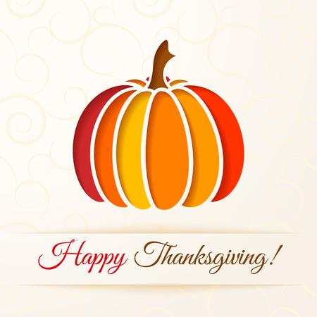 calabaza: Fondo beige con calabaza colorido cortar. Acci�n de Gracias tarjetas. Ilustraci�n vectorial