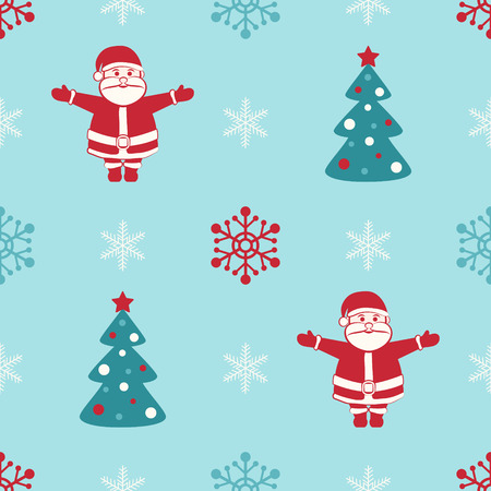 Retro Christmas seamless background with Santa, fir and snowflakes Vector