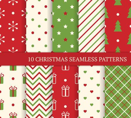 dots: 10 Christmas different seamless patterns. Endless texture for wallpaper, web page background, wrapping paper and etc. Retro style.