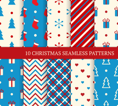 10 Christmas different seamless patterns. Endless texture for wallpaper, web page background, wrapping paper and etc. Retro style. Vector