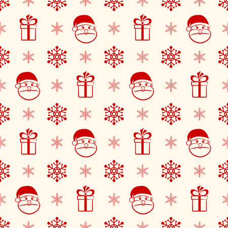 Red christmas seamless background with Santa, gift and snowflakes Vector