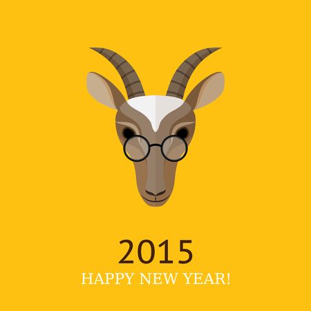 Vector illustration of goat, symbol of 2015. Element for New Years design. Hipster style. Flat design. Can used as greeting card. Vector