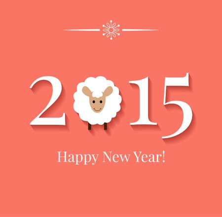 中国の黄道帯 2015 - 羊 (ヤギ) の年。フラットなデザイン スタイル。幸せな新年の挨拶カードまたは背景。ベクトル イラスト  イラスト・ベクター素材