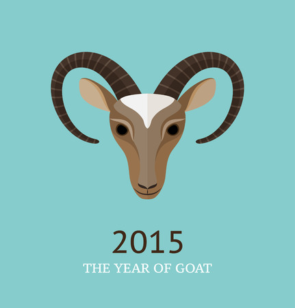 Vector illustration of goat, symbol of 2015. Element for New Years design.Flat design. Can used as greeting card. Vector
