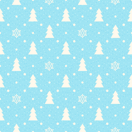 Retro Christmas seamless background with fir tree and snowflakes Vector