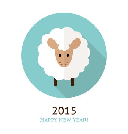 Vector illustration of sheep, symbol of 2015. Element for New Years design.Flat design. Can used as greeting card. Vector