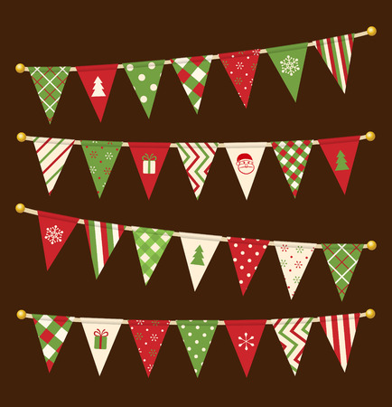 Vector triangle bunting flags. Christmas garland collection.
