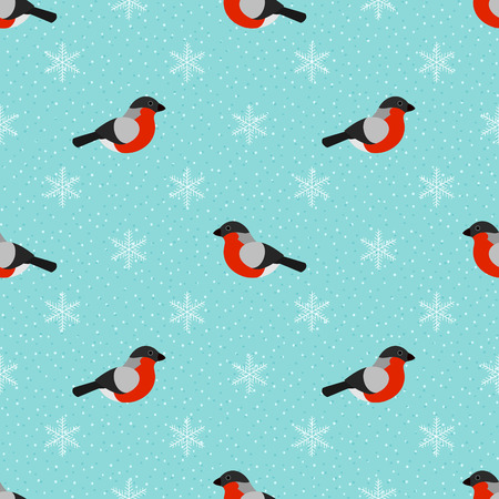 bullfinch: Winter seamless background with bullfinch and snowflakes