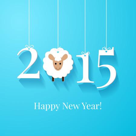 new Year: Felice Anno Nuovo biglietto di auguri o di sfondo. Tag bianco con 2015 su sfondo blu
