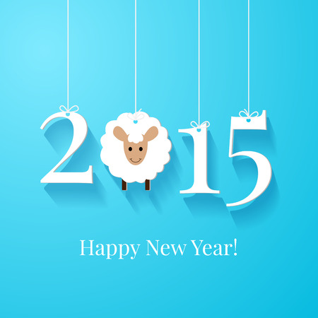 paper banner: Happy New Year greetings card or background. White tags with 2015 on blue background