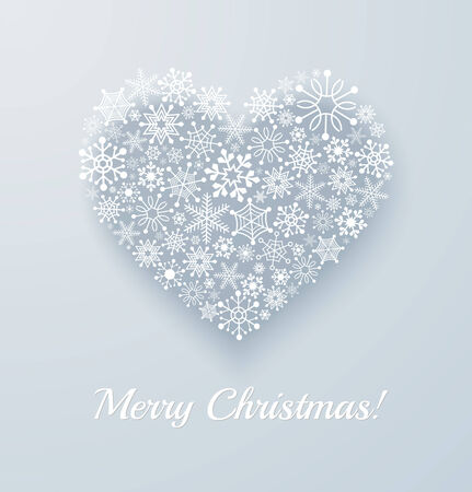 Heart made from snowflakes. Christmas applique card or background. Vector