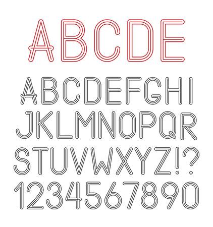 aerate: Lettere dell'alfabeto vettore ariose, numeri e segni di punteggiatura