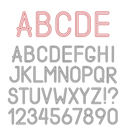 airy: Vector airy alphabet letters, numbers and punctuation marks Illustration