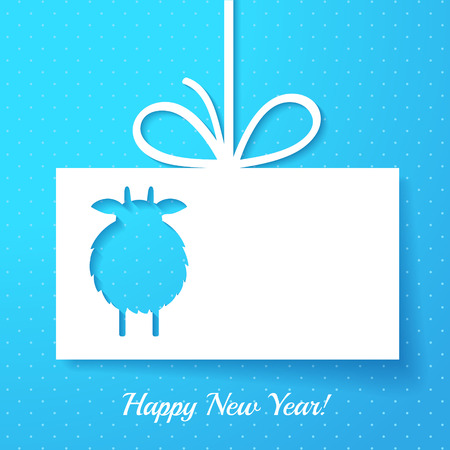 Applique with cut out goat. New Year greeting card or background Vector