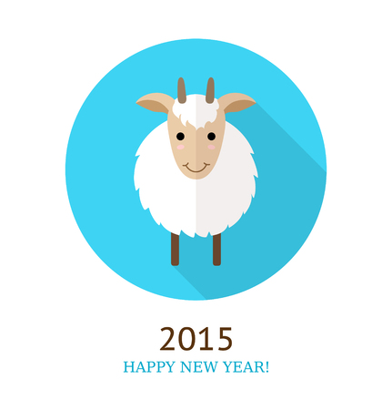 Vector illustration of goat, symbol of 2015. Can used as New Year greeting card or background. Vector