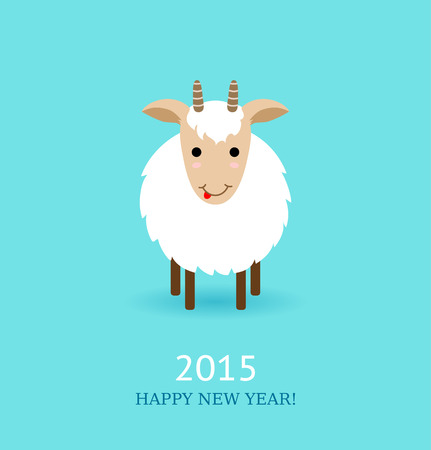 lunar new year: Vector illustration of cute goat, symbol of 2015. Flat style. Can use as New Year greeting card or background.