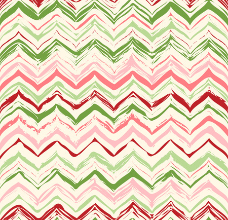Colorful stripes seamless zigzag pattern. Abstract background with hand drawn stripes. Vector watercolor lines background.