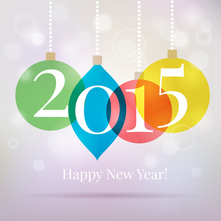 2015 background with hanging Christmas balls. Happy New Year card with lights. 일러스트