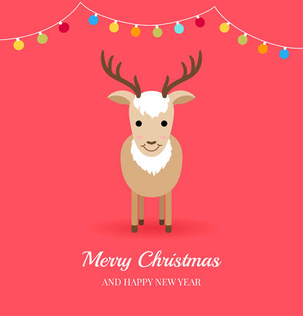 christmas bulbs: Christmas card with cute deer and garlands. Flat style.