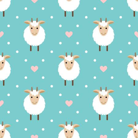 水玉かわいいヤギとのシームレスなパターン。ヤギ - 2015 年のシンボル。  イラスト・ベクター素材