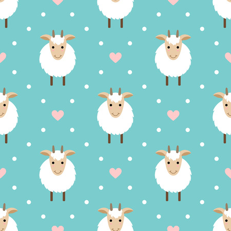 Polka dots seamless pattern with cute goat. Goat - symbol of 2015 year. Vector
