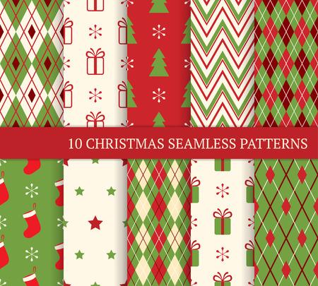 10 クリスマス異なるシームレスなパターン。壁紙、web ページの背景、包装紙の無限のテクスチャです。レトロなスタイル。