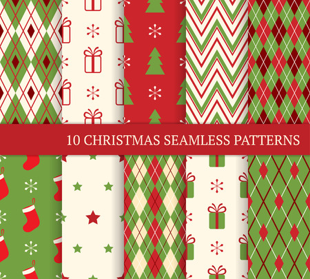 stripe: 10 Christmas different seamless patterns. Endless texture for wallpaper, web page background, wrapping paper and etc. Retro style.