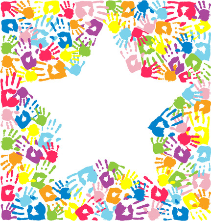 handprints: Star of the handprints of father, mother and children Illustration