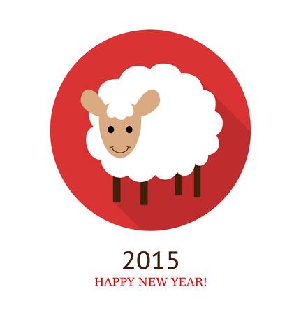 illustration of sheep, symbol of 2015. Flat style.