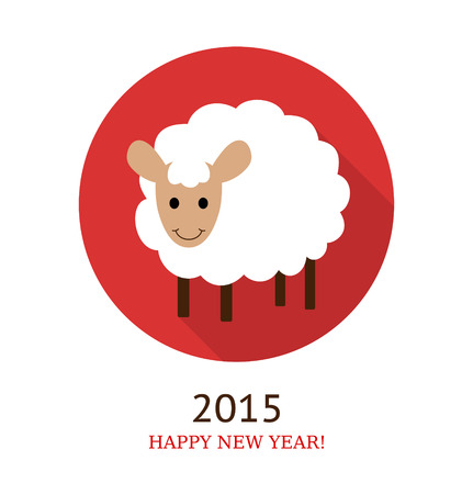 illustration of sheep, symbol of 2015. Flat style.