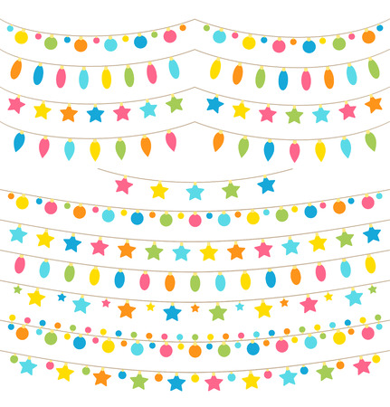 Collection of colorful garland lights Vector