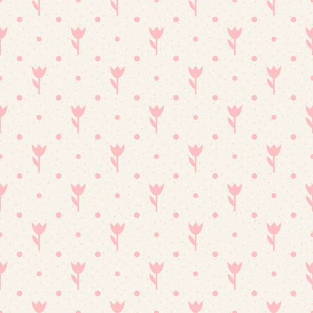 mothers day background: Retro seamless pattern Pink flowers and dots on beige background