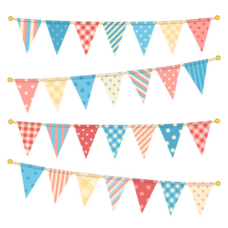 garland border: Vector triangle bunting flags.